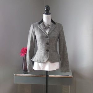 Chaps Black & White Tweed Blazer Velvet Collar